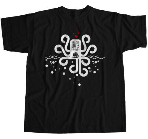 1Tee Bottines Femme Coupe Ample légendaire Kraken aime Bateau T-Shirt