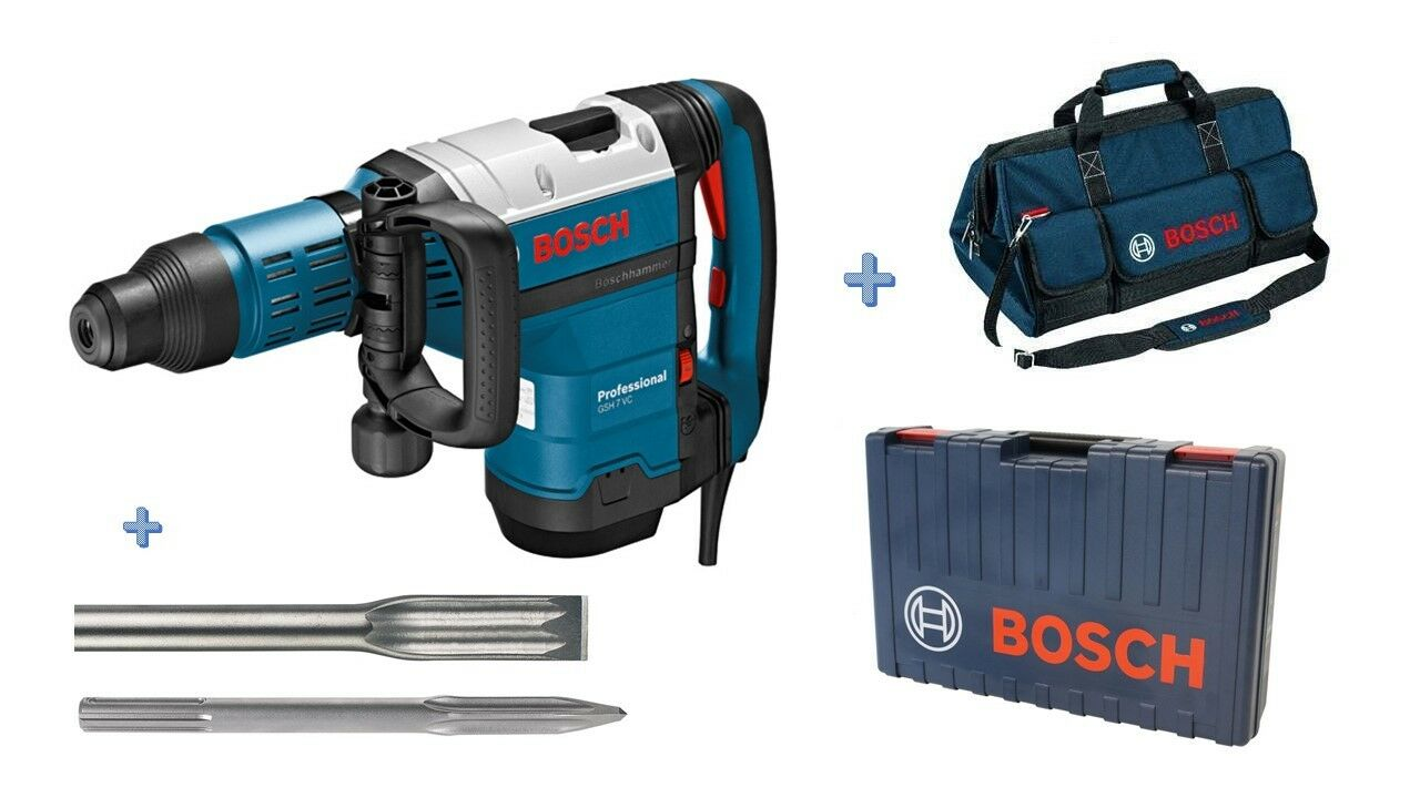 Bosch GSH 7 VC Professional Schlaghammer SDS-max im Koffer mit Spitz-& Flachmeiß