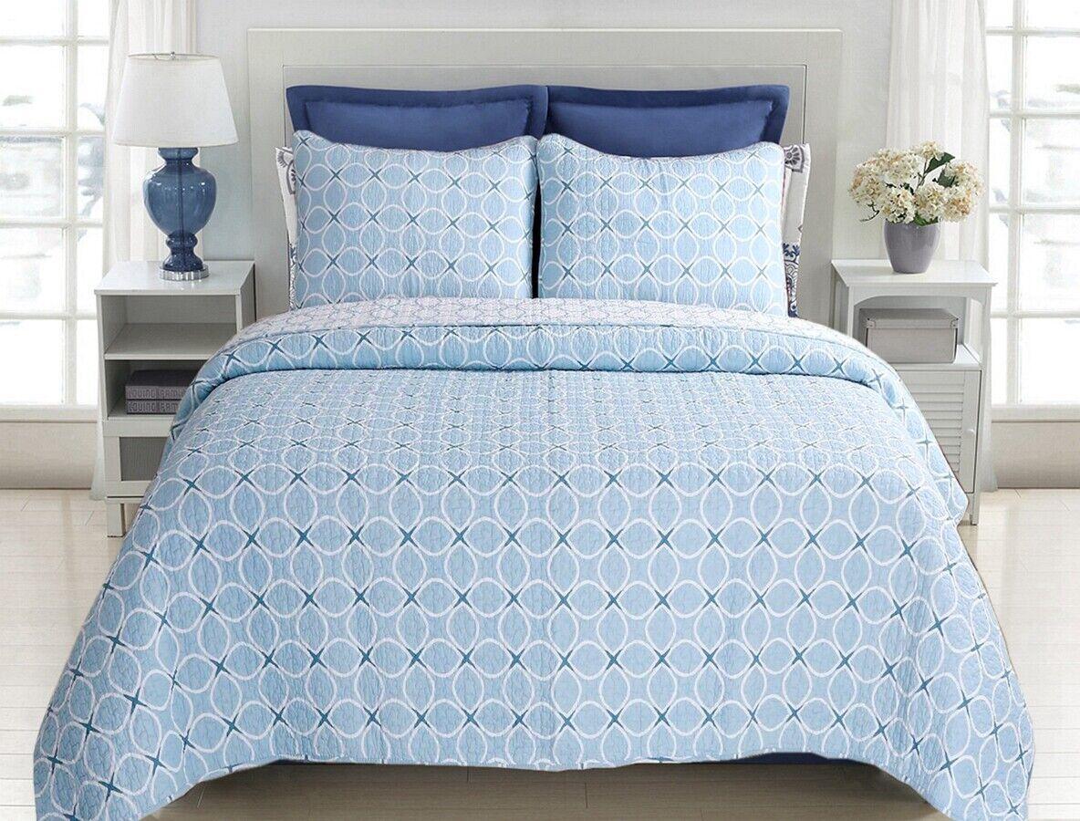 Aria Blau Reversible Cotton Quilt Set, Bedspreads, Coverlet