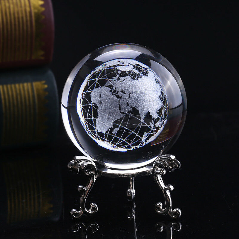6cm 3d Crystal Earth Ball Glass Laser Engraved Miniature