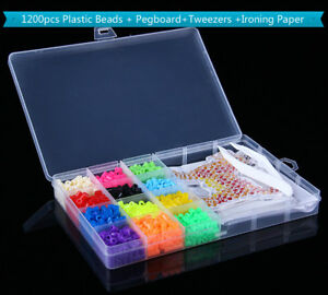 1200pcs-Plastic-Perler-Hama-Beads-Pegboard-Tweezers-Iron-Paper-Stater-Kit-Crafts