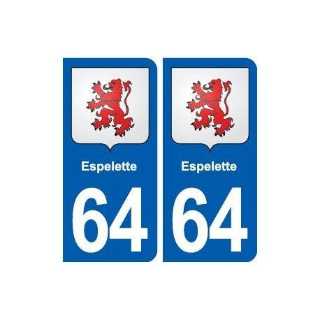 64 Espelette blason autocollant plaque stickers ville arrondis