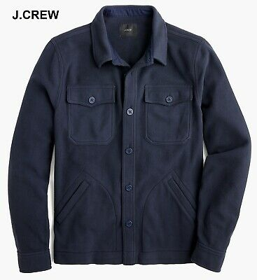 J.CREW polar fleece shirt-jacket olive green military button down up front nwt