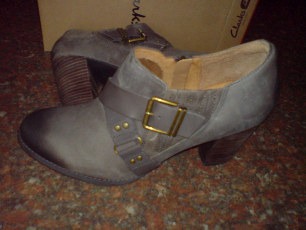 Clarks Da Donna ** Heath in tottavilla ** Smart Grigio in Heath Pelle Tacco ** ecd483