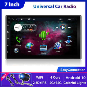 7'' Android 10.0 Double 2 DIN GPS Car Stereo Head Unit FM/AM Player WiFi DAB+CAM