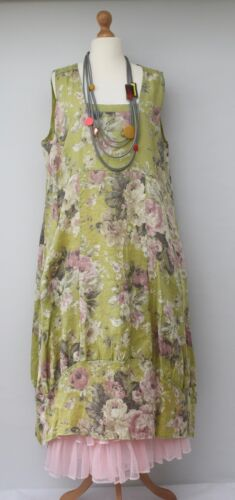 lime 2 Xl 54 xxl Lino Busto Oversize tasche fino Floral Dress Lagenlook a ngw6pYqp
