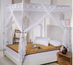 Image Is Loading White Lace 4 Corners Post Bed Curtain