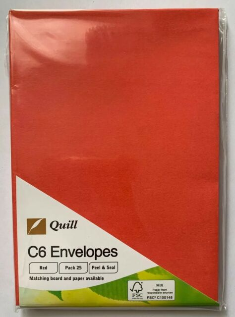 Quill C6 Envelopes Christmas Red 25 Pack FREE POSTAGE