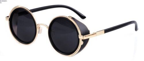 Mens Womens Steampunk Round Vintage Retro Cyber Goggles Goth Emo Punk Sunglasses