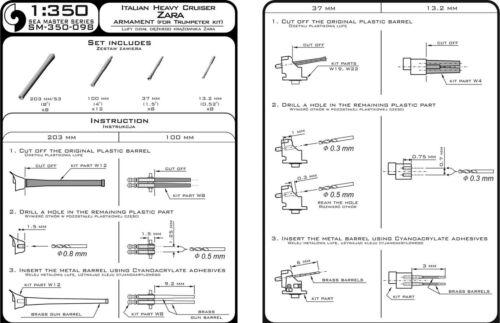 SMS SEYDLITZ ARMAMENT SET 28cm, 15cm, 8,8cm BARRELS to Hobbyboss #350106 MASTER