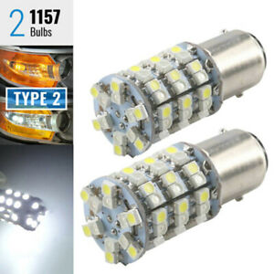 2x-1157-Type-2-Switchback-White-Amber-Yellow-60-SMD-LED-Turn-Signal-Light-HQE