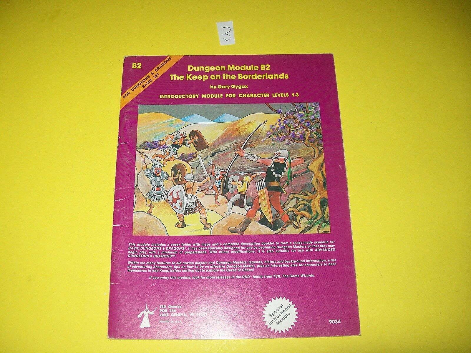 B2 THE KEEP ON THE BORDERLANDS DUNGEONS & DRAGONS TSR 9034 3 TRUE 1ST PRINT