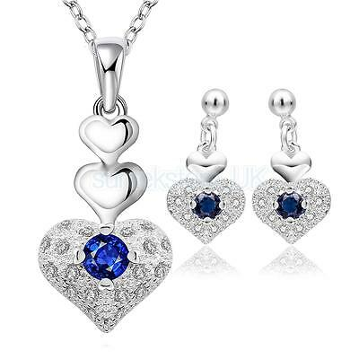 Wedding Engagement Crystal LOVE HEART Necklace and Earring Studs Jewelry Set