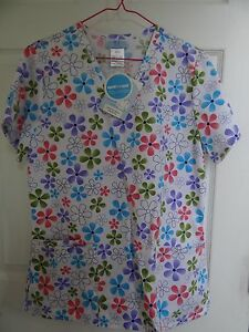 SCRUBS-TOP-BRAND-NEW-SMALL-SIZE-FLORAL-WHITE-BACKGROUND-VERY-COLORFUL