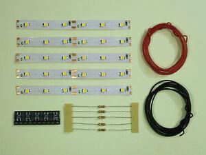 S542-5-Stueck-LED-Waggonbeleuchtung-100mm-warmweiss-analog-digital-Bausatz