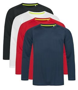 ACTIVE-DRY-Plain-Breathable-Polyester-Long-Sleeve-Sports-T-Shirt-Tshirt-No-Logo