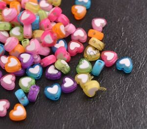 100pcs Quality Acrylic heart-shaped charm spacer loose beads DIY Jewelry 8MM