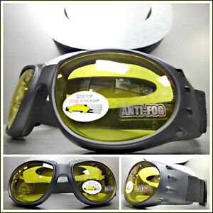 6263772917d4c Men PADDED MOTORCYCLE RIDING GOGGLES With Strap Black Frame Yellow Anti Fog  Lens