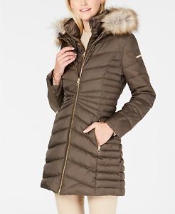Laundry by Shelli Segal Faux-Fur-Trim Hooded Quilted-Panel Puffer - Olive - UK L