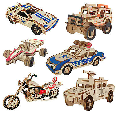 3D Wood Puzzle Children Jeep Car Vehicle Environmental Assemble Toy Education S