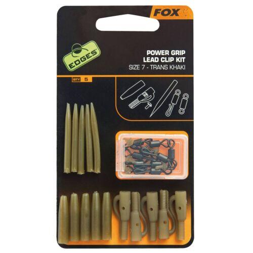 """5 Set´s /""""FOX/"""" Edges Power Grip Lead Clip Kit Size 7 CAC638"""