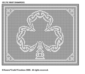 CELTIC KNOT SHAMROCK Filet DOILY//TABLE RUNNER Pattern