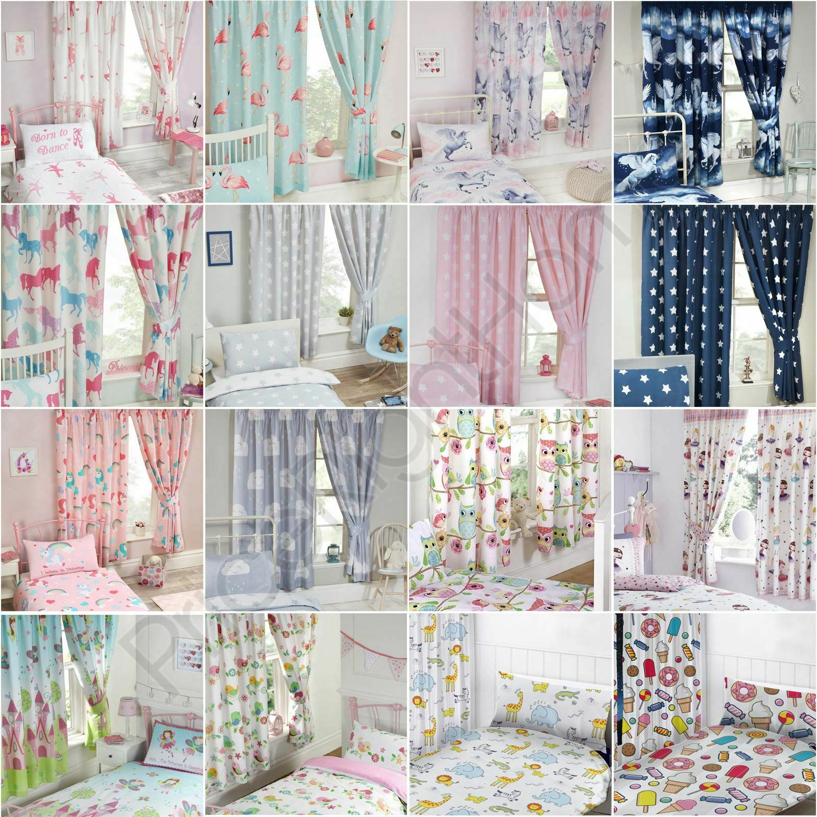 I Believe In Unicorns Pink Curtains Lined 66 X 54 Kids Girls Bedroom For Sale Online Ebay