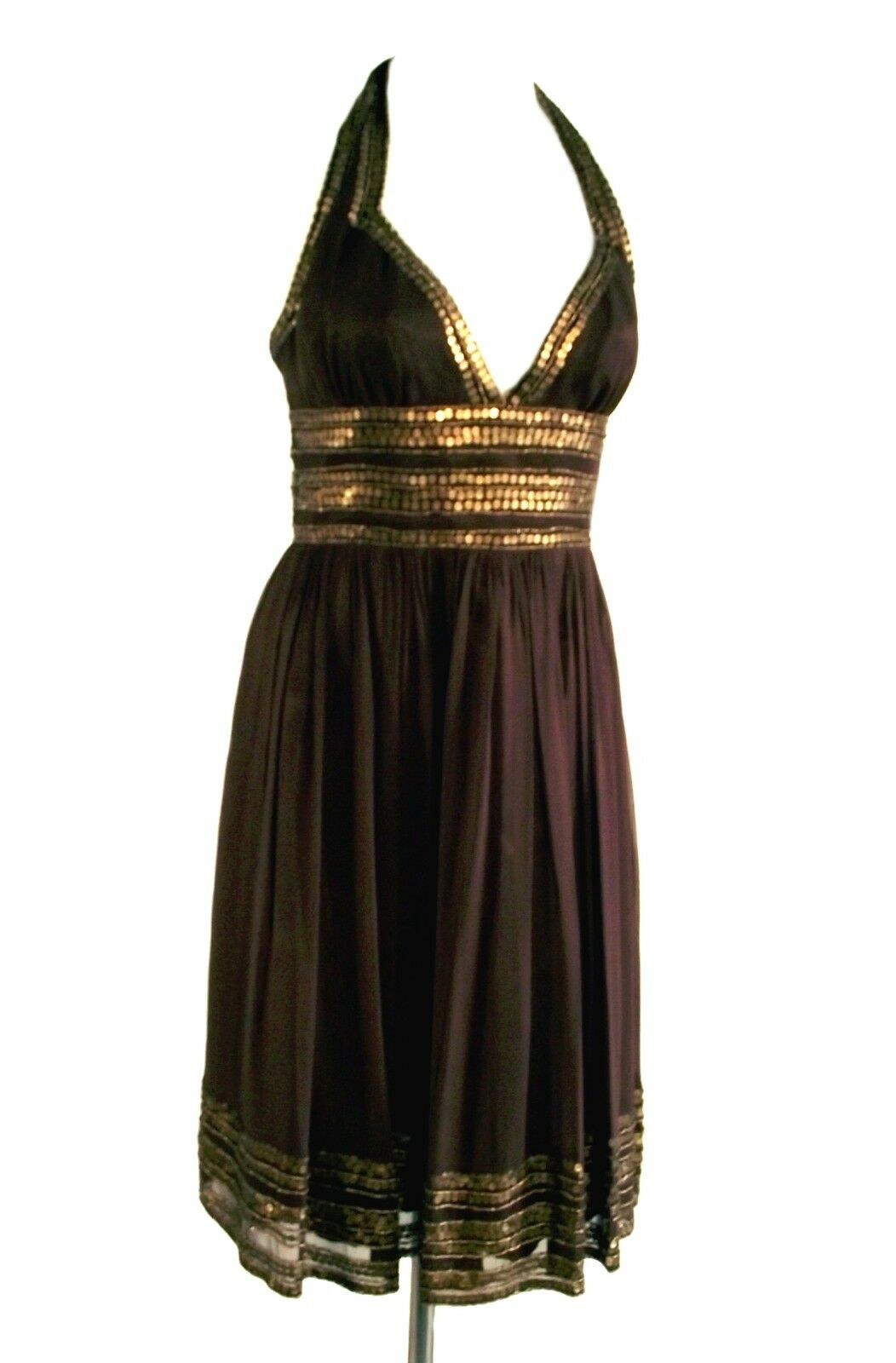 NWT Adrianna Papell Chocolate braun Silk Beaded Sequined Halter Prom Dress - 4