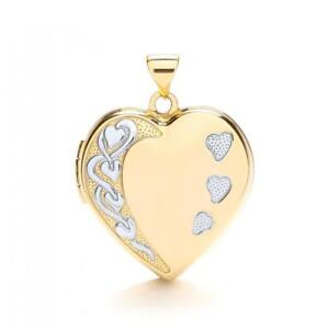 9ct-Jaune-amp-or-Blanc-a-Motifs-Famille-Forme-Coeur-Medaillon