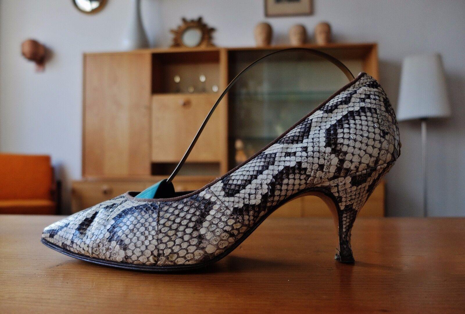 Bella Elvira Femmes Escarpins Beige Marron Cuir Chaussures t 38 uk 5 true vintage