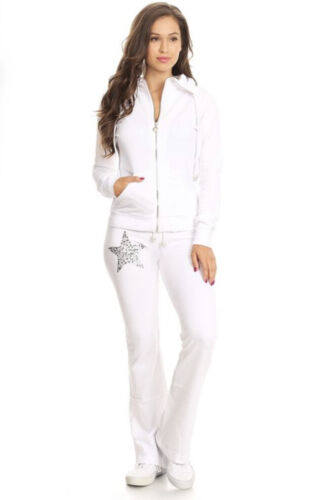 flared pants Activewear set with embellishment details comes with zip up jacket