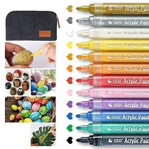 Schnell Acrylic Painter Ink 2-3mm Glasmalstifte Set von 12 Farben Acrylstifte