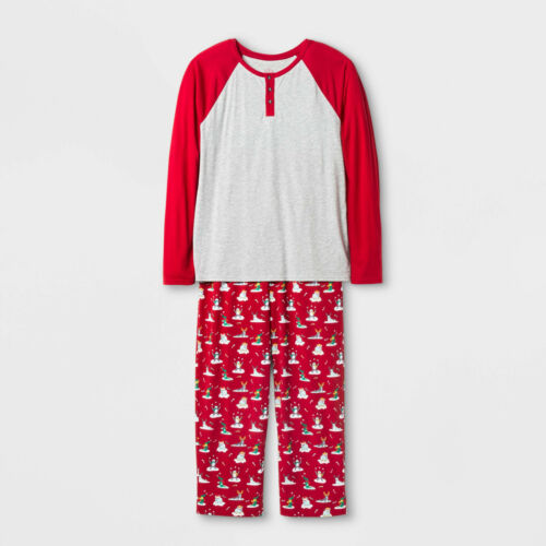 Gray//Red Wondershop Mens Festive Animal Family Holilday 2 Piece Pajama Set