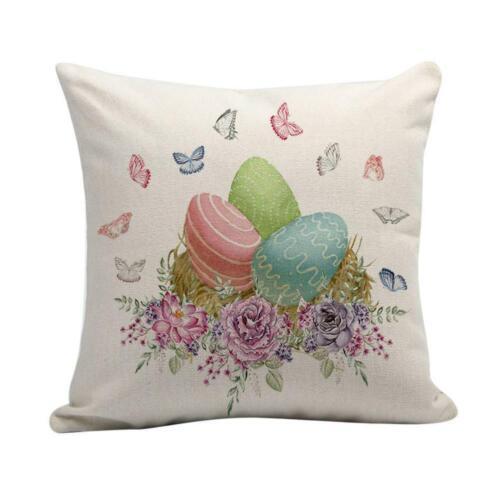 Happy Easter Bunny Pillow Cover Linen Sofa-Car Cushion Cover Decor Pillow Case