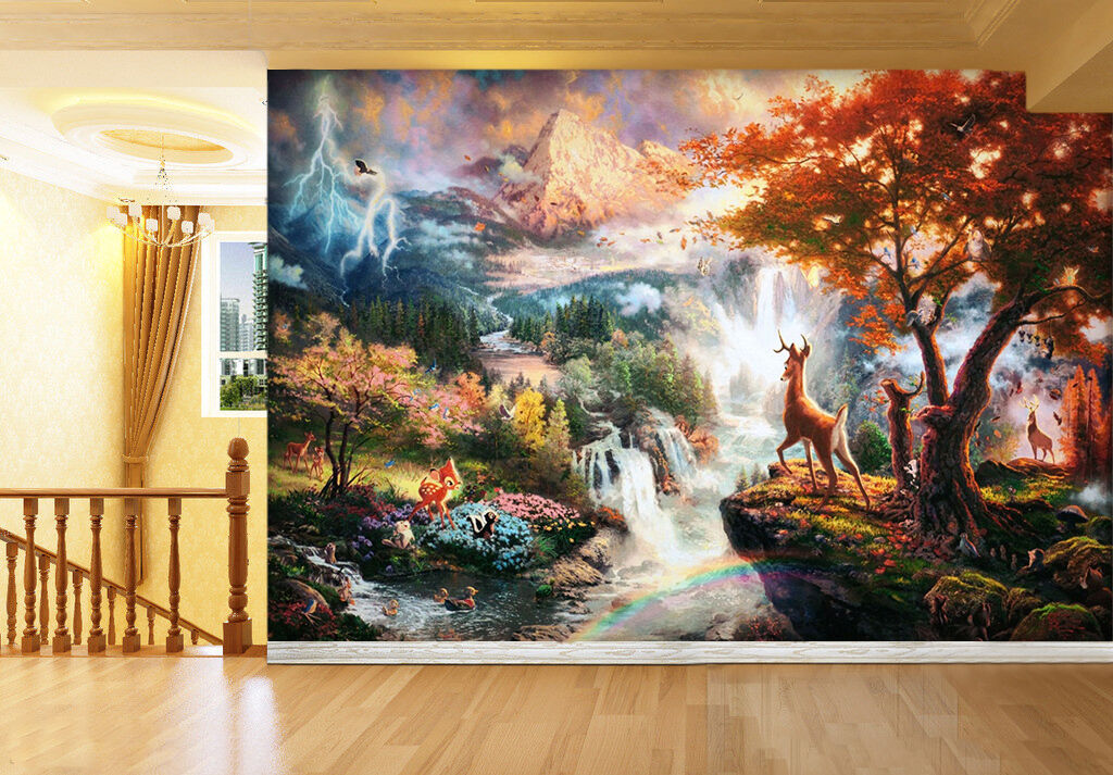 3D Sunset forest deer 03 Wall Paper wall Print Decal Wall Deco Indoor wall Mural