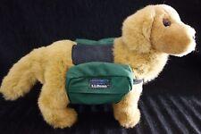 """RARE LL Bean Mini Golden Retriever Plush Dog w/LL Bean Saddlebags-12""""-VG- SALE"""