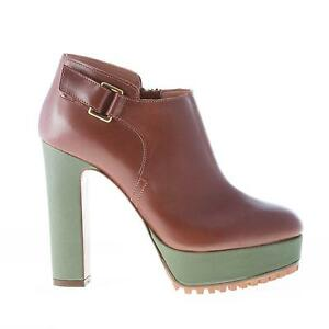 Zip And Brown Green Leather Femme Shoes L'autre Boot Chaussures Chose Ankle qXvw1ga