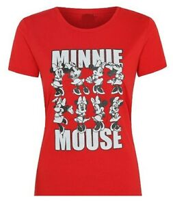 Ladies T Shirts Minnie Mouse With Glitter Text And Red Background