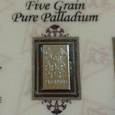 COA Included for Palladium 99.9 Pure 5Grains Precious Metal ACB Bullion PD Bar
