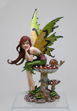 "AMY BROWN THINKING OF YOU FAIRY TABLETOP STATUE 6.25""H MUSHROOM FAIRY PONDERING"