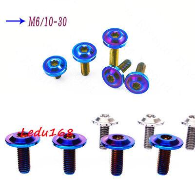 4pcs Titanium M6 x 10//16//20//30mm Dished head Plum Blossom Screw Ti Blue Bolts