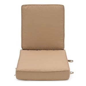 Image Is Loading Solid Taupe Outdoor Patio Chair Deep Seat Cushion