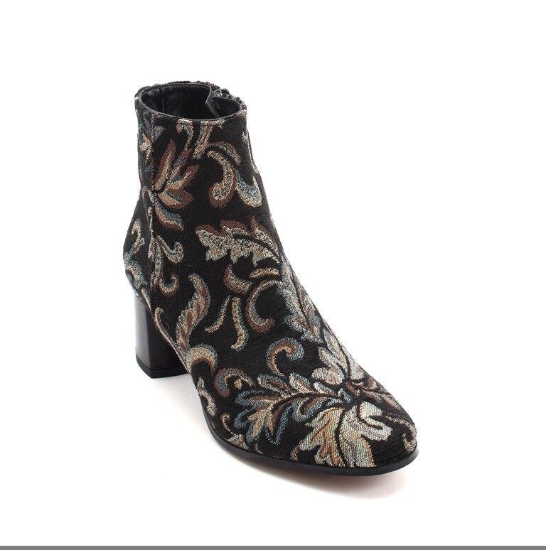 Les Trois Garcons 61350 Multi-Color Tapestry / Pelle Zip Ankle Boot 37 /   7