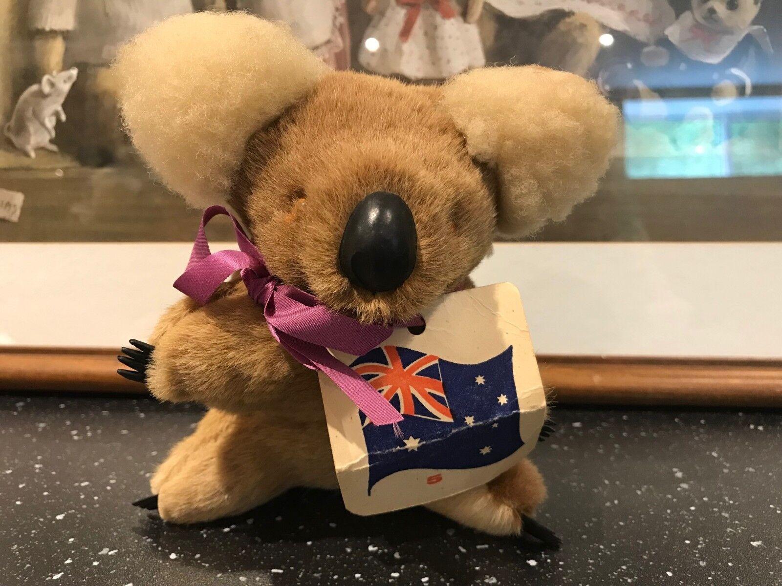 Vintage Koala Bear Real Wool & Fur Rubber Claws Glass Eyes 5.5