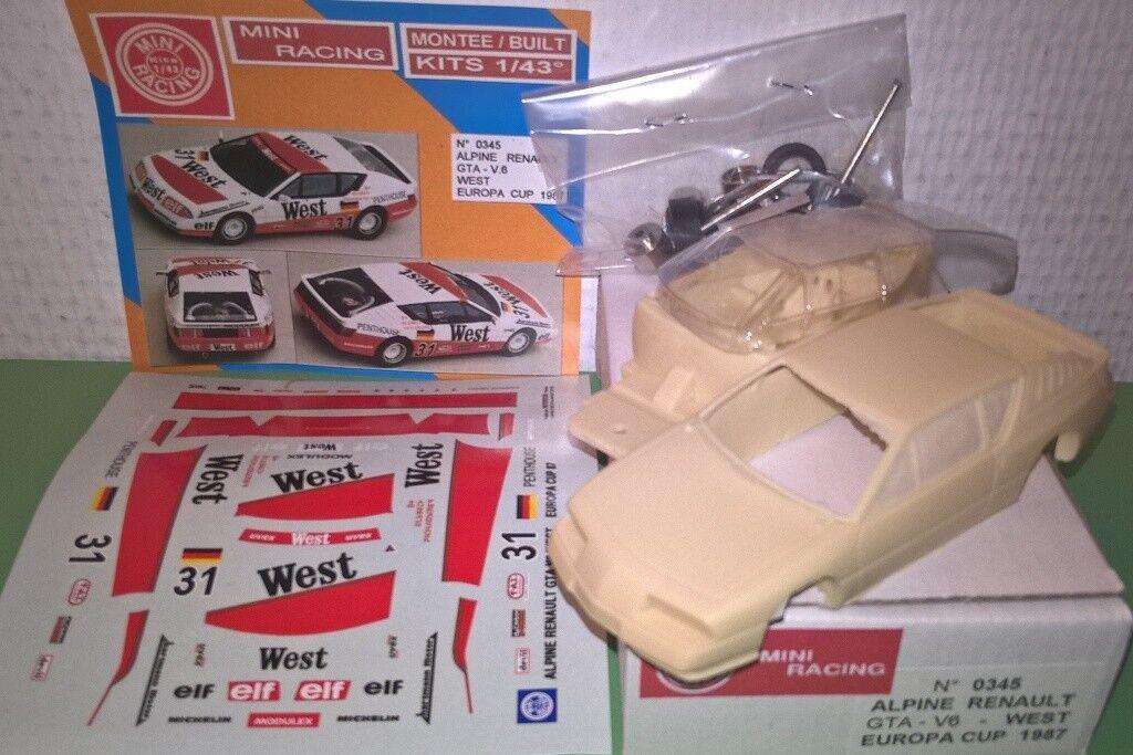 Alpine Renault GTA V6 WEST  31 Europa CUP'87 1 43 Kit montaggio Mini Racing RARE