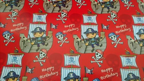 Pirate Happy Birthday Boys Gift Wrapping Paper Sheet Quality NEW