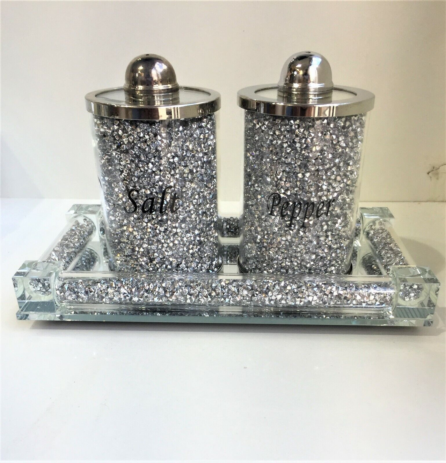 SPARKLY BLING CRUSHED CRYSTAL DIAMOND FILLED SILVER SALT PEPPER TRAY✨