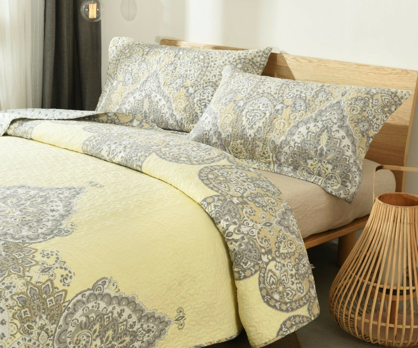 DaDa Bedding Bohemian Pale Lemon giallo Floral Medallion Floral Bedspread Set