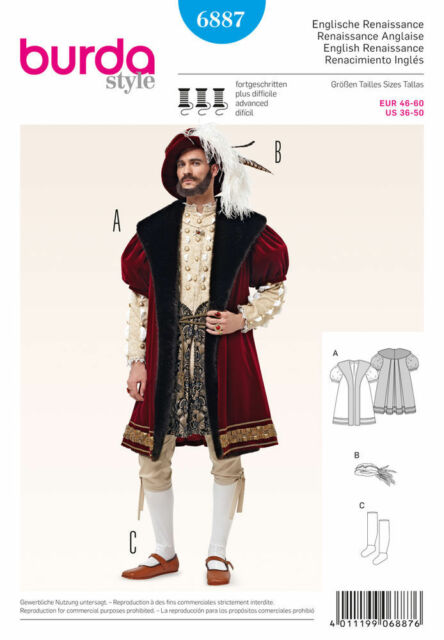 Burda 6887 36-50 Sewing Pattern Mens Henry Eigth Costume Coat ...