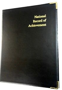 NATIONAL-RECORD-OF-ACHIEVEMENT-PVC-A4-FOLDER-IN-BLACK-LEATHER-LOOK-GOLD-PRINT